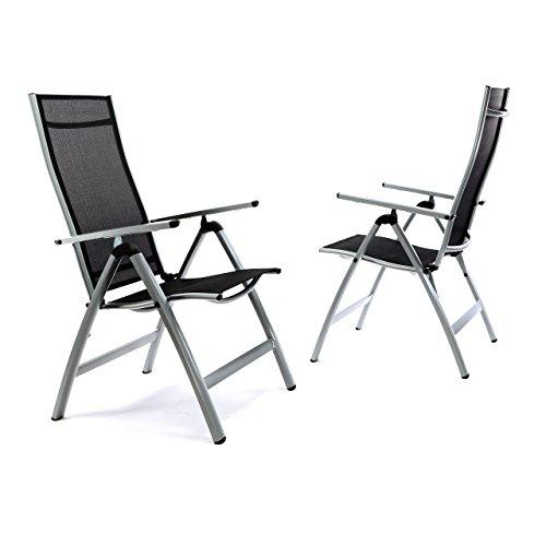 Nexos ZGC34483_SL02 2er Set Deluxe Alu Stuhl extrabreit Klappstuhl Gartenstuhl Verstellbar Schwarz Hochlehner XL