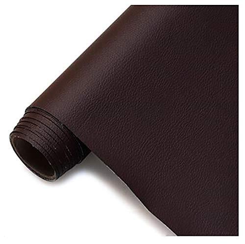 GERYUXA Piel para tapizarTela de Polipiel for Tapizar Imitación d Tela de Polipiel, Fina y elástica Tela de imitación de Cuero Tejido de Piel sintética-Café Profundo t4 1.6x7m