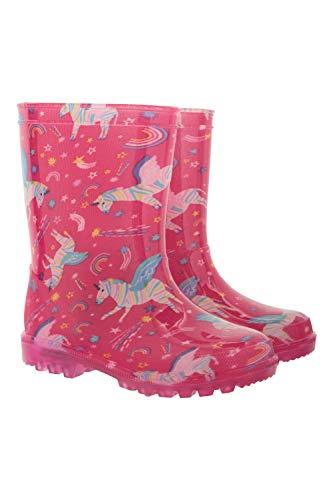 Mountain Warehouse Splash Kinder-/Junior-Gummistiefel mit Blinkleuchten - robuste Schuhe mit Blinksohlen, leicht zu reinigende Wanderschuhe - ideale Regenstiefel Zebra 28