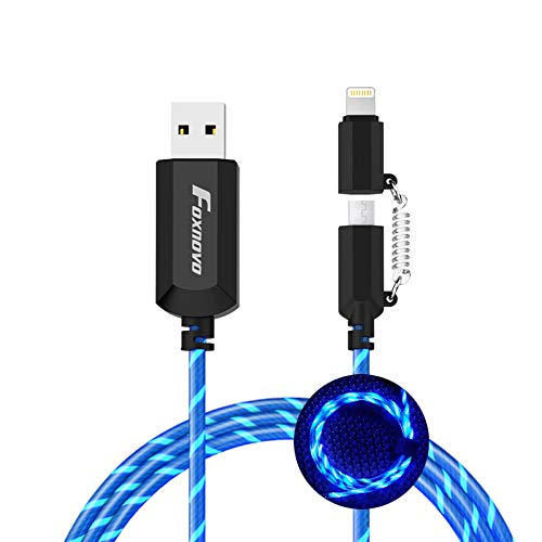 chargers with mfi lights [Apple MFi Certified] Foxnovo Led iPhone Charger Cable, 2-in-1 Led Lightning Cable with 360° Flowing Light for iPhone 12/11 /11 Pro/XS/XR/X/8/8 Plus/7/7 Plus/6/6 Plus/5s/Android (Blue),3.3 ft