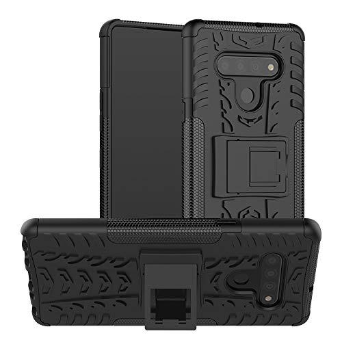 Xyamzhnn Cajas para teléfonos para LG Stylo 6 Textura de neumáticos TPU + PC Cáscara Protectora con Titular (Color : Black)