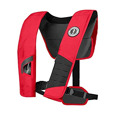 Mustang Survival - DLX 38 Automatic Inflatable PFD - (Red/Black - One Size Fits All) - Reduce Pressure Points, Dual Size Adjusters, 38LB Buoyancy, Reflective
