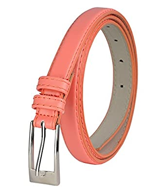 "NYFASHION101 Women's Classy Skinny Bonded Leather Casual Belt with Shiny Buckle (L (37""-41""), Peach)"