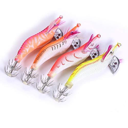 Rehomy Plástico Luminoso Camarones Cebo Calamares Camarón Jigging Señuelos Noche Amanecer Pesca...
