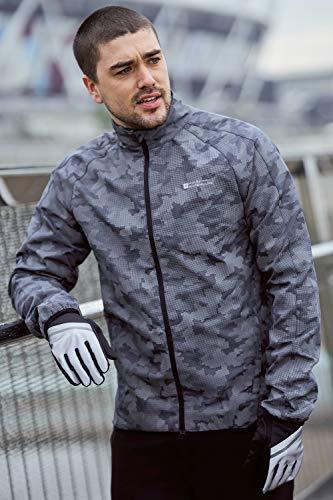 Mountain Warehouse 360 Reflektierende Jacke für Herren - Wasserfeste Unisex-Regenjacke, atmungsaktiv, Regenmantel mit durchgehendem Reißverschluss - Radfahren und Laufen Schwarz 4XL