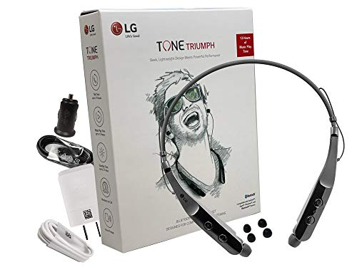 LG Tone HBS-510 Triumph Black - Bluetooth Wireless Stereo Headset 510 with 1.2Amp Quick Wall Car Charger (US Retail Packing Kit)