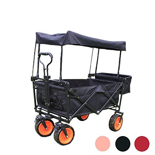 WYLDDP Verstellbarer Wagen mit abnehmbarem Baldachin und Sicherheitsgurt für Camping im Freien, 100 l große Kapazität, Garten Garten Shopping Strandsportaktivitäten,Schwarz