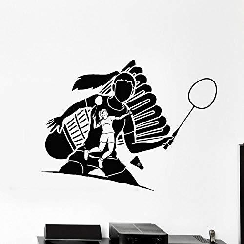YIMING Bádminton deporte vinilo pared calcomanía bádminton chica atleta juego tenis pelota cancha raqueta pared pegatinas hogar niñas habitación decoración 56X42CM