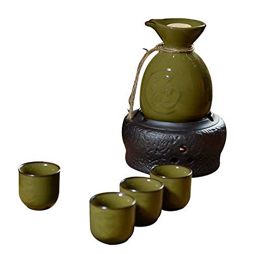Juego de 6 tazas de sake de cerámica, sin sabor, no se decolora, fácil de usar, fácil de limpiar, apto para amantes de la cultura, artesanía tradicional, E