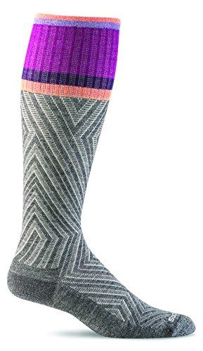 Sockwell Women's Labyrinth Moderate Graduated Compression Sock, Charcoal - M/L