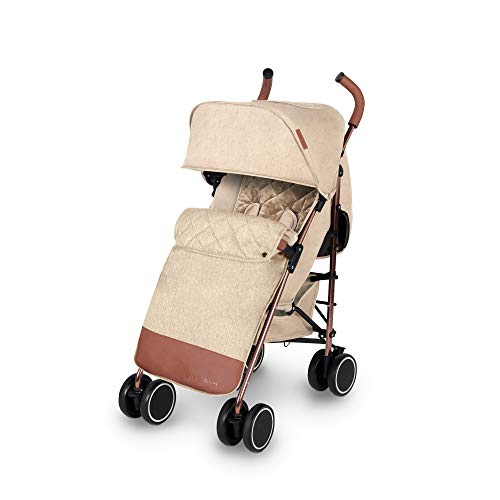 Ickle Bubba Discovery Max Stroller   Lightweight Portable Pushchair   from 6 Months to 4 Years   UPF 50 Hood, Rain Cover, Seatliner & Footmuff, Cup Holder   Cream on Rose Gold Frame