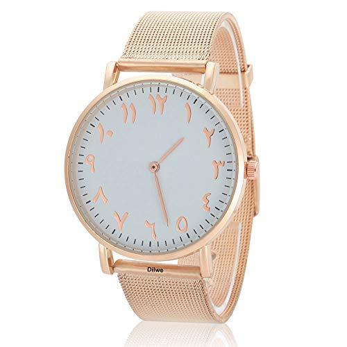 Dilwe Uhr der Frauen Elegante Uhr-Quarz-Dial Analog rund mit Edelstahl-Armband(Roségold)
