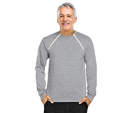 Comfy Chemo Men's Long Sleeve Chemotherapy Port Zipper Shirts (Large, Gray)