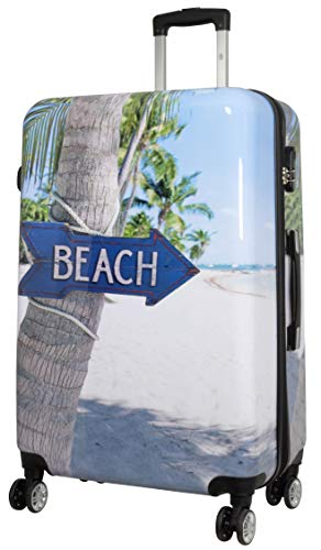Trendyshop365 Hartschale Reise-Koffer mit Motiv Beach 78 Zentimeter 107 Liter 4 Räder Bunt Strand Zahlenschloss