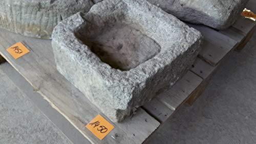 Der Naturstein Garten Alter Trog aus Granit 29 cm lang Brunnen Steintrog - G1450 Granittrog Waschbecken
