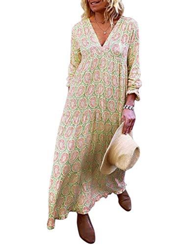 Minetom Damen Sommerkleider Print Maxi Kleid Langarm V-Ausschnitt Abendkleid Strandkleid Party Loose Lange Boho Tunika Aprikose DE 36