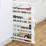 Wooden Can Organizer & Spice Rack - Slim Rolling Kitchen Cart - White