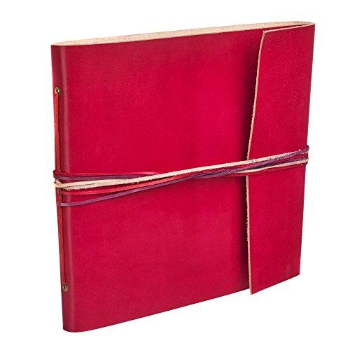 Álbum de fotos de piel de colores, rojo, 30 páginas para fotos de 120 x 10 cm, de comercio justo y hecho a mano, álbum de fotos de 26 cm x 24 cm