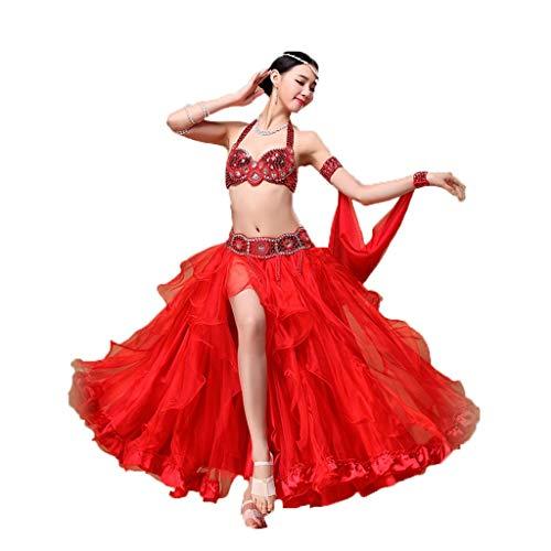 Traje De La Danza del Vientre Traje Traje De La Danza del Vientre Traje De La Falda Grande Ropa (Color : Scarlet, Size : M)
