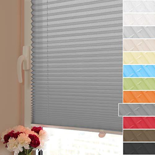 HOMEDEMO Plissee ohne Bohren Faltrollo mit klemmfix (Anthrazit, 60x200cm) Jalousie Lichtdurchlässig und Blickdicht Sicht-und Sonnenschutz für Fenster & Tür