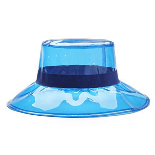 Weiy Chapeau de Seau Transparent Anti-UV d'été, Cadeau de Chapeau de Pluie pêcheur Pliable Respirant Hommes Femmes,Bleu