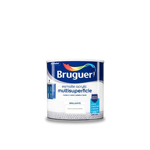Bruguer Acrylic Multisuperficie Esmalte al agua - Pintura 250 mL, Brillante Blanco Permanente