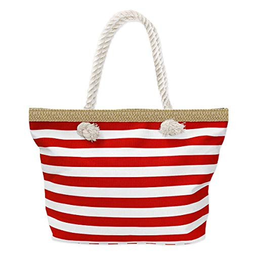 SoulCats® Shopper Freizeittasche Strandtasche im zeitlosen Streifenmuster in rot