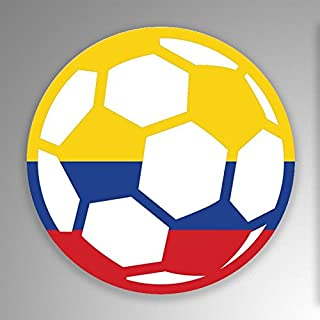 JMM Industries Colombia Soccer Ball Flag Vinyl Decal Sticker Car Window Bumper 2-Pack 4-Inches Round Premium Quality UV-Resistant Laminate PDS678