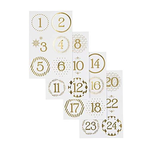 Sticker für Adventskalender, D: 40 mm, Blatt 9x14 cm, Weiß, Gold, 4Bl.