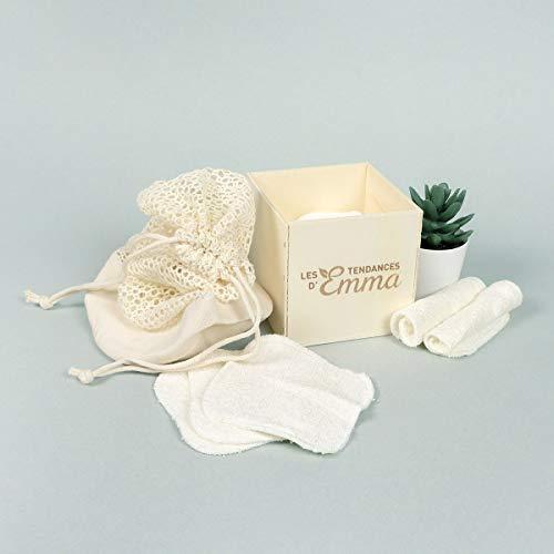 Les Tendances d'Emma – Set Eco Belle Holz Eukalyptusholz – 15 waschbare Abschminktücher