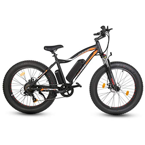"ECOTRIC 26""Powerful Fat Tire Electric Bicycle Mountain Bike 500W Motor 36V/13AH Removable Lithium Battery Ebike Beach Snow Shock Absorption (Black)"