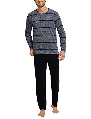 Schiesser Herren lang Zweiteiliger Schlafanzug, Grau (Grey/Blue), 52