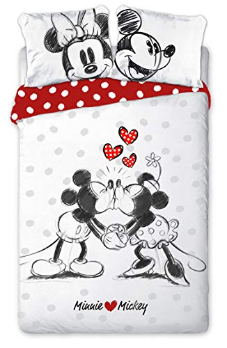 Mickey e Minnie Kiss Love - Parure da letto matrimoniale, copripiumino 200 x 200 cm, in cotone
