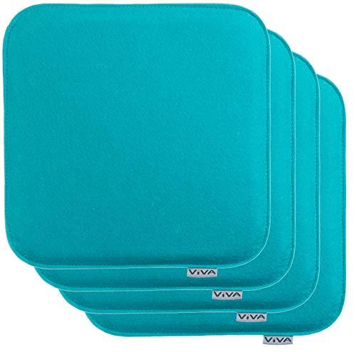 Brandsseller Cojín de fieltro rectangular para silla, acolchado, 35 x 35 x 2 cm, 4 unidades, color turquesa