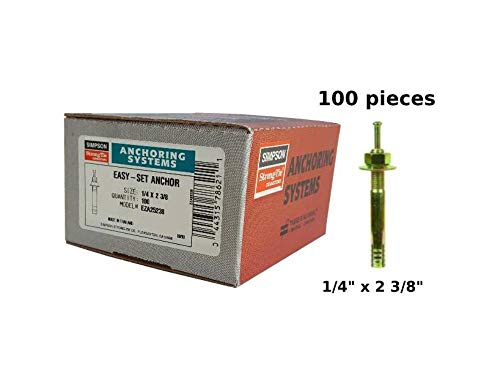 Concrete Strike Anchor 1/4' x 2-3/8' Simpson Strong-Tie Easy Set Hammer Pin Drive Expansion Anchor 100/Box