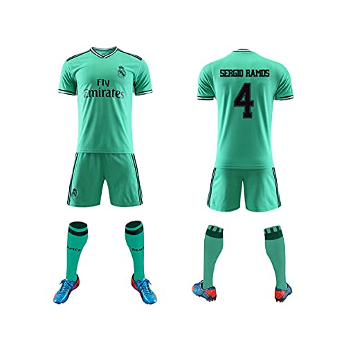GAOjie Camisetas de fútbol para hombre, camiseta + pantalones cortos + calcetines, camiseta con estampado Rěǎī-Mǎdrid ropa de entrenamiento, uniforme de fútbol para niños y adultos Hombres /
