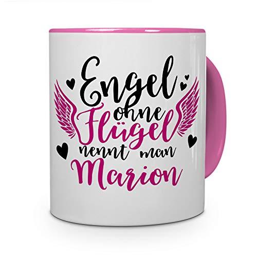 printplanet Tasse mit Namen Marion - Motiv Engel - Namenstasse, Kaffeebecher, Mug, Becher, Kaffeetasse - Farbe Rosa