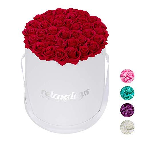 Relaxdays Rosenbox rund, 34 Rosen, stabile Flowerbox weiß, lange haltbar, Geschenkidee, dekorative Blumenbox, rot