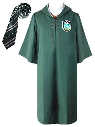 Monissy Unisex Harry Robe Umhang mit Kapuze Gryffindor Slytherin School Fancy Cloak Deluxe Cosplay Kostüm Kinder Erwachsene Quidditch Robe Halloween Karneval Party Cosplay Rot Grün S-XXL
