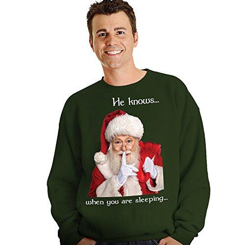 Morph Anzüge Sankt Hässliche Weihnachtss Sweatshirt, Grün, Klein