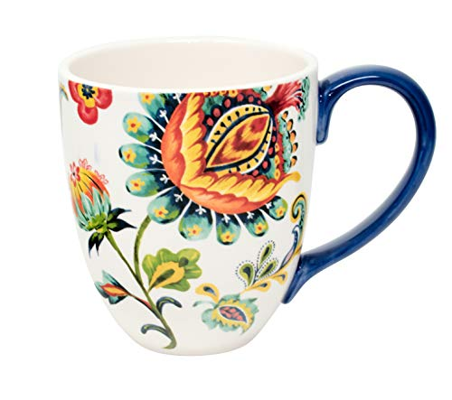 Duo Jumbotasse Becher XXL folkloristische Deko 810 ml aus Keramik Trinkbecher Smoothie Becher Geschenk Büro Tasse für Kaffee Teetasse Cappuccino Kaffeebecher Jumbo-Tasse Riesentasse XXXL (Sari)