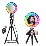 Rainbow Selfie RingLight 14RGB Colori Bellezza Trucco Cerchio-luce di illuminazione fotografica luminosa con 10 livelli di luminosità Dimmerabili Luci LED per streaming live, artisti vlogger (8')