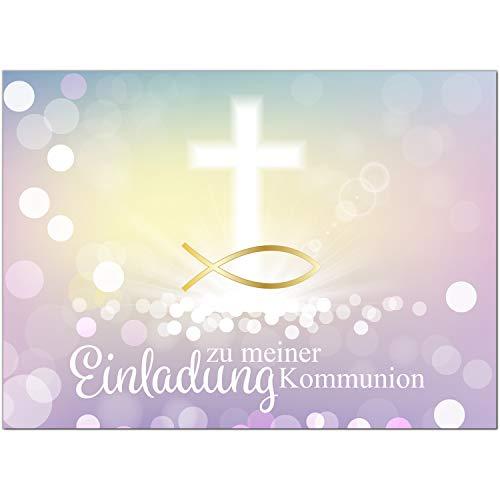 15 x Einladungskarten Kommunion mit Umschlag/Moderner Look mit Fisch Gold/Kommunionskarten/Einladungen zur Feier