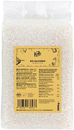 KoRo - Bio Milchreis 5 kg - Vorteilspackung klebriger Rundkornreis aus 100 % biologischer Anbau ohne Zusätze