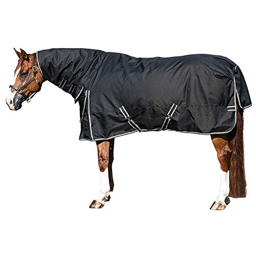 STORM SHIELD Horse Turnout Blanket | Attached Neck Cover | Heavy Weight - 380 Grams | Size 72 - Black | 1200 Denier | Criss-Cross Surcingle | Waterproof, Windproof & Breathable