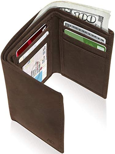 Leather Trifold Wallets For Men RFID Slim Mens Brown Wallet With ID Window Front Pocket Holiday product image