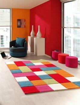 Kinderteppich Spielteppich Kinderzimmer Teppich Karo Muster Multicolour Rot Türkis Orange Creme Grün Pink Größe 80x150 cm