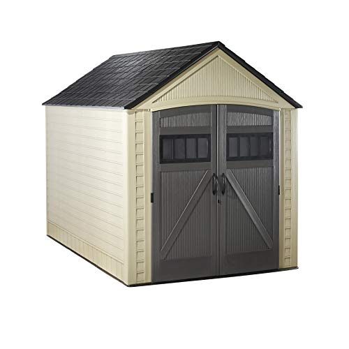 Rubbermaid Outdoor Storage Shed, 7X10 feet, Resin Weather Resistant Outdoor Garden Storage Shed for Backyard, Garden, Tool Storage, Lawn, Garage Organizer , Roughneck