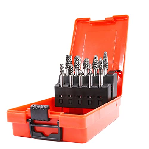 WUWTOOLS Tungsten Carbide Rotary Burrs Set 1/4 Shank file bit 10PCS Double cut Rotary tool Die grinder Drill Accessories Metal Steel Wood Glass Plastic Stone DIY Carving Polishing Cutting Shaping