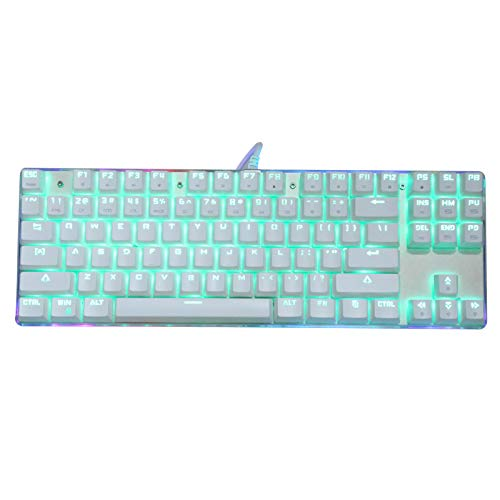 Teclado mecánico para juegos, teclado para juegos con retroiluminación LED RGB con cable USB, diseño de 87 teclas, botón multimedia FN + para jugadores de PC de computadora de escritorio(blanco-1)